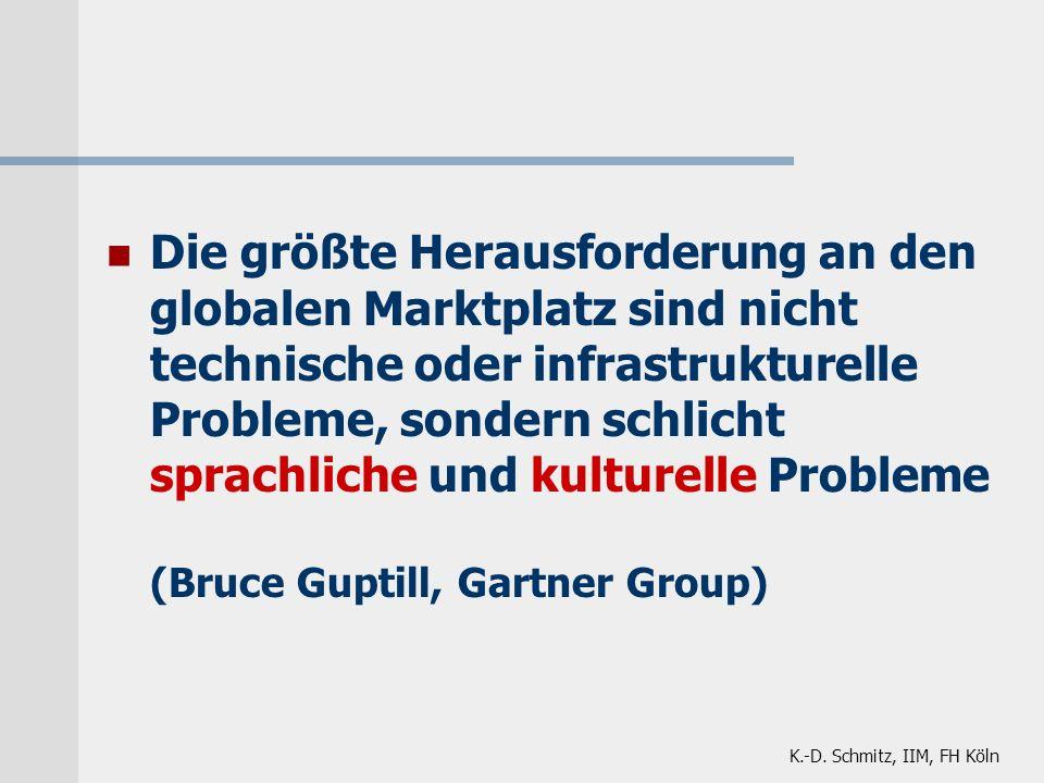 Die größte Herausforderung an den globalen Marktplatz sind nicht technische oder infrastrukturelle Probleme, sondern schlicht sprachliche und kulturelle Probleme (Bruce Guptill, Gartner Group)