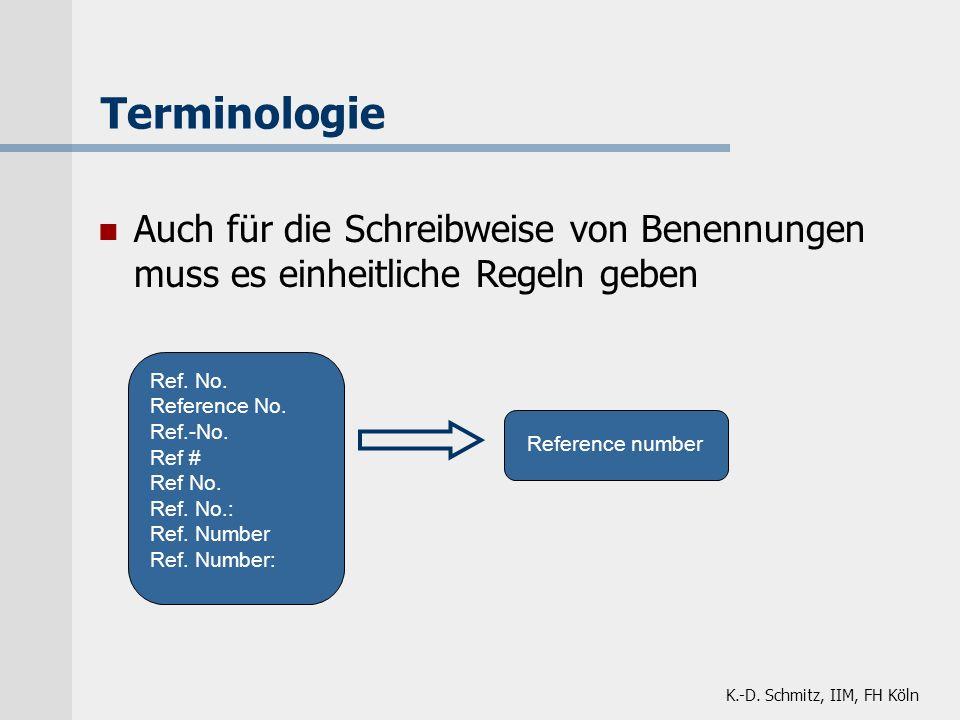 Terminologie Auch für die Schreibweise von Benennungen muss es einheitliche Regeln geben. Ref. No.