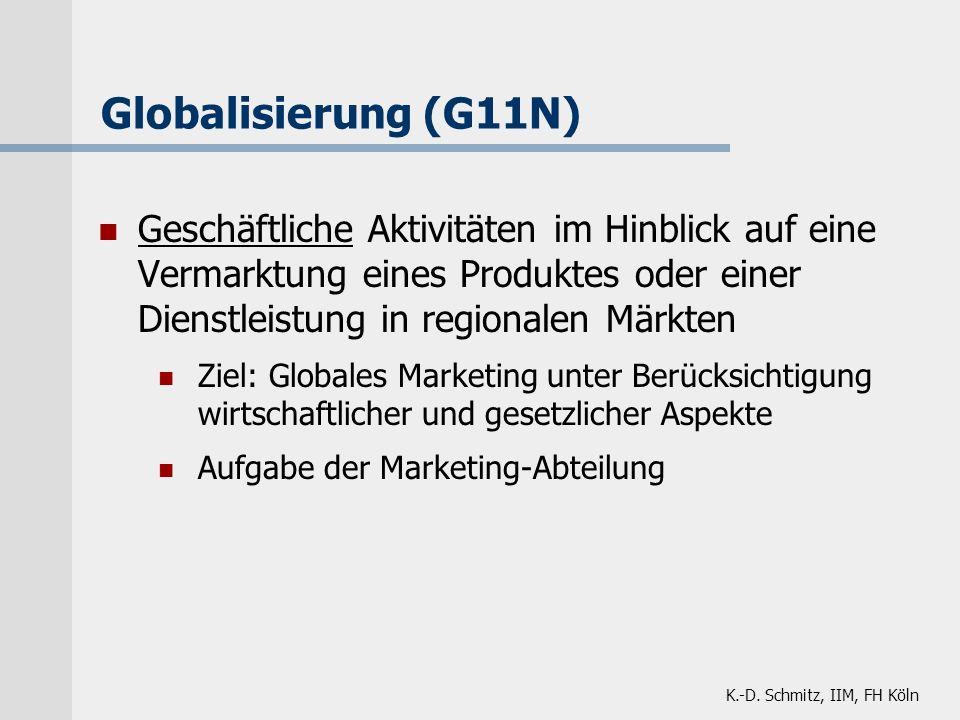 Globalisierung (G11N) Geschäftliche Aktivitäten im Hinblick auf eine Vermarktung eines Produktes oder einer Dienstleistung in regionalen Märkten.