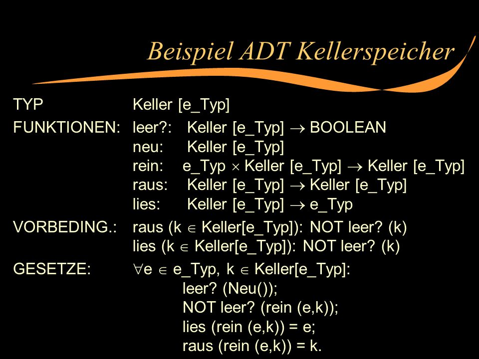 Beispiel ADT Kellerspeicher