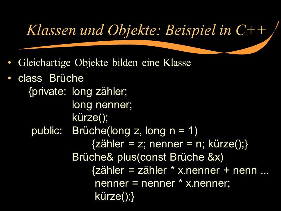 Klassen und Objekte: Beispiel in C++