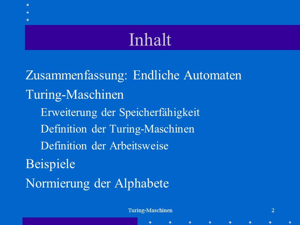 Inhalt Zusammenfassung: Endliche Automaten Turing-Maschinen Beispiele