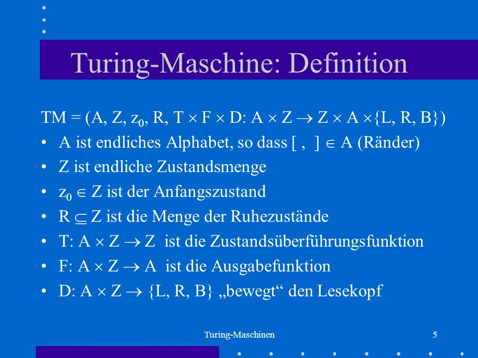 Turing-Maschine: Definition