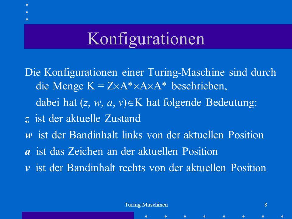 Konfigurationen Die Konfigurationen einer Turing-Maschine sind durch die Menge K = ZA*AA* beschrieben,