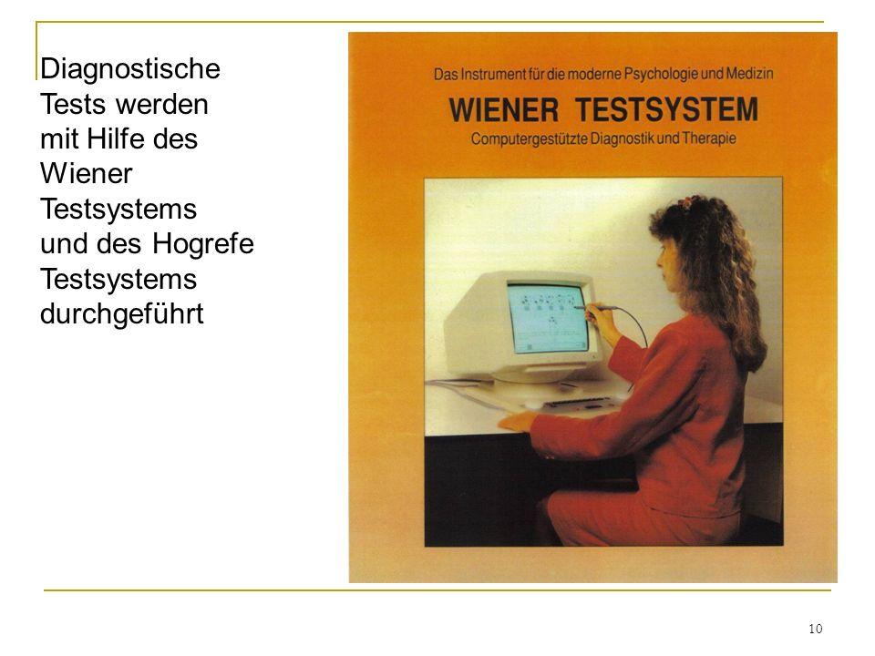 Diagnostische Tests werden mit Hilfe des Wiener Testsystems und des Hogrefe Testsystems durchgeführt