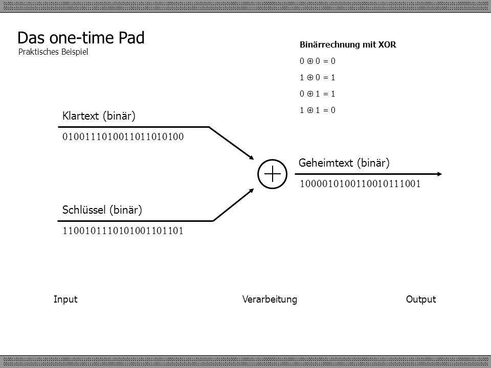 Das one-time Pad Klartext (binär) 0100111010011011010100