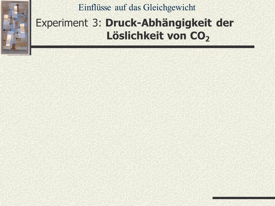 Experiment 3: Druck-Abhängigkeit der Löslichkeit von CO2