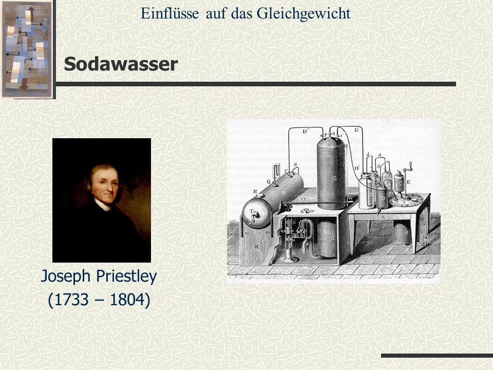 Sodawasser Einflüsse auf das Gleichgewicht Joseph Priestley