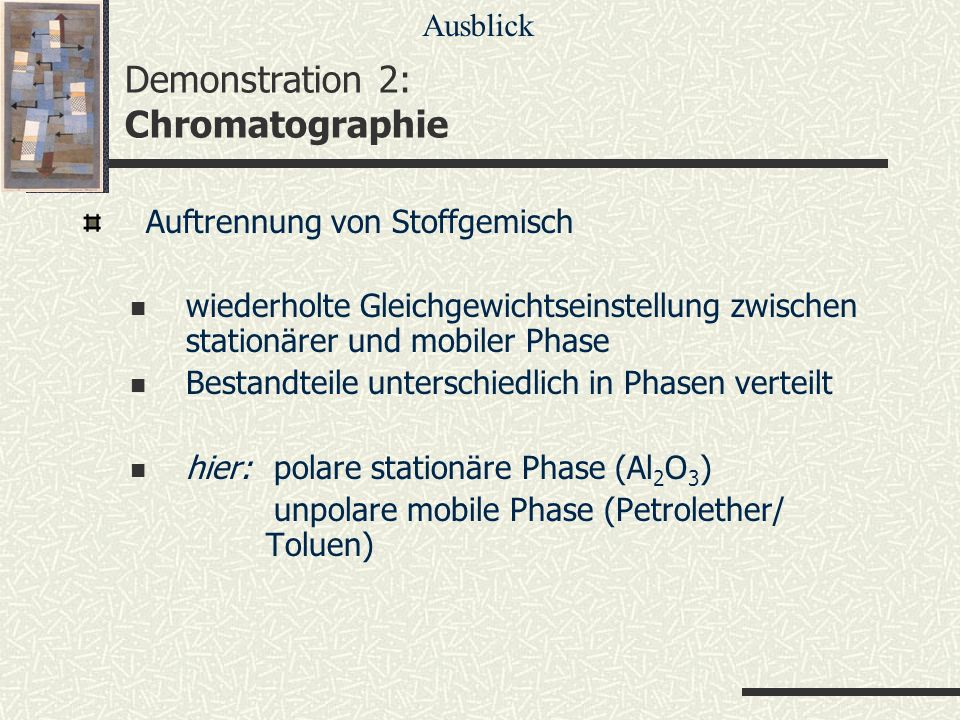 Demonstration 2: Chromatographie