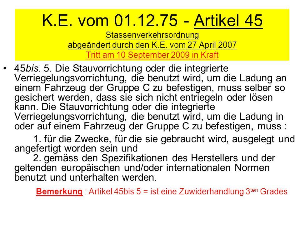 K.E. vom 01.12.75 - Artikel 45 Stassenverkehrsordnung abgeändert durch den K.E. vom 27 April 2007 Tritt am 10 September 2009 in Kraft