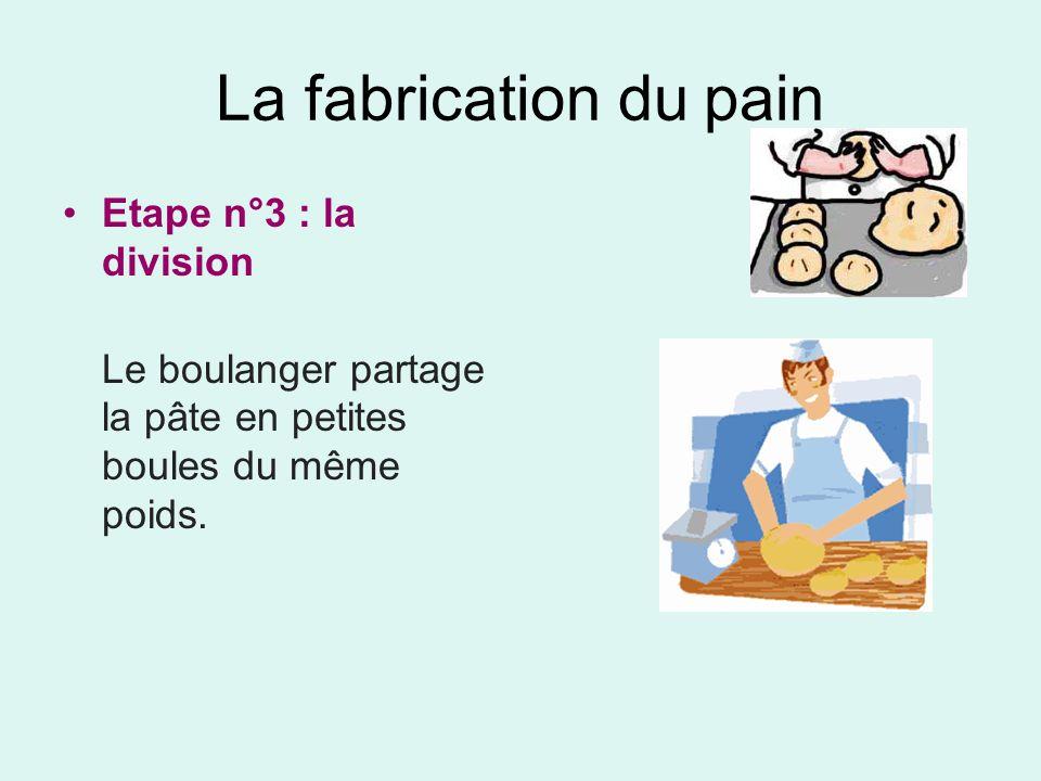 La fabrication du pain Etape n°3 : la division