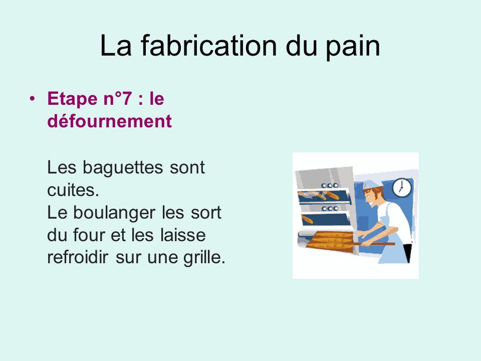 La fabrication du pain Etape n°7 : le défournement