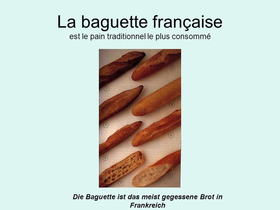 La baguette française est le pain traditionnel le plus consommé