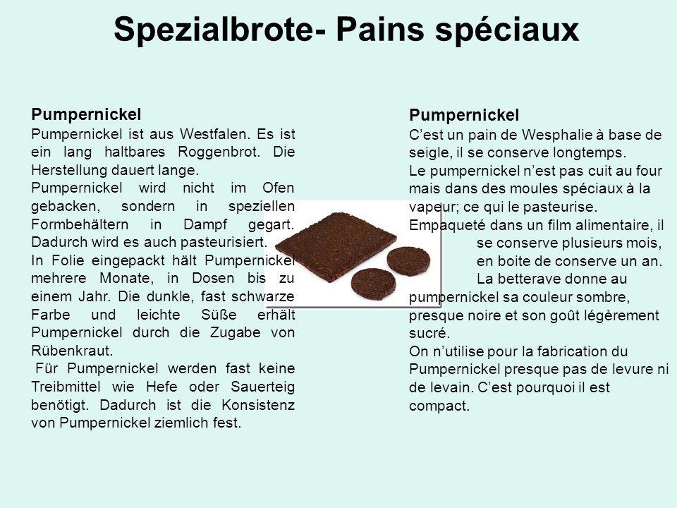 Spezialbrote- Pains spéciaux