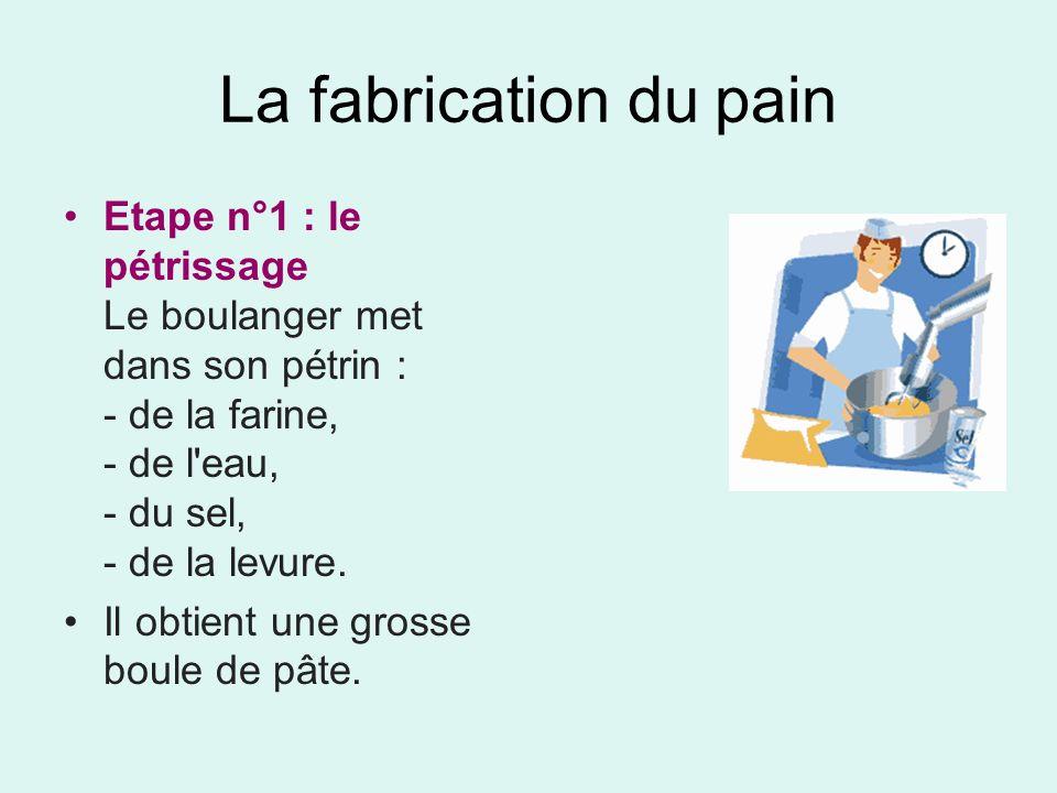 La fabrication du painEtape n°1 : le pétrissage Le boulanger met dans son pétrin : - de la farine, - de l eau, - du sel, - de la levure.