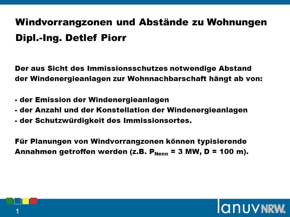 Windvorrangzonen und Abstände zu Wohnungen Dipl.-Ing. Detlef Piorr