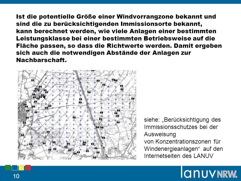 Ist die potentielle Größe einer Windvorrangzone bekannt und sind die zu berücksichtigenden Immissionsorte bekannt, kann berechnet werden, wie viele Anlagen einer bestimmten Leistungsklasse bei einer bestimmten Betriebsweise auf die Fläche passen, so dass die Richtwerte werden. Damit ergeben sich auch die notwendigen Abstände der Anlagen zur Nachbarschaft.