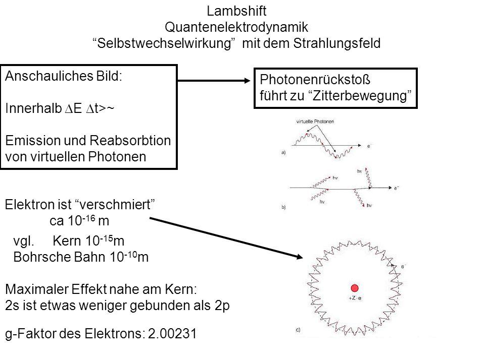 Quantenelektrodynamik Selbstwechselwirkung mit dem Strahlungsfeld