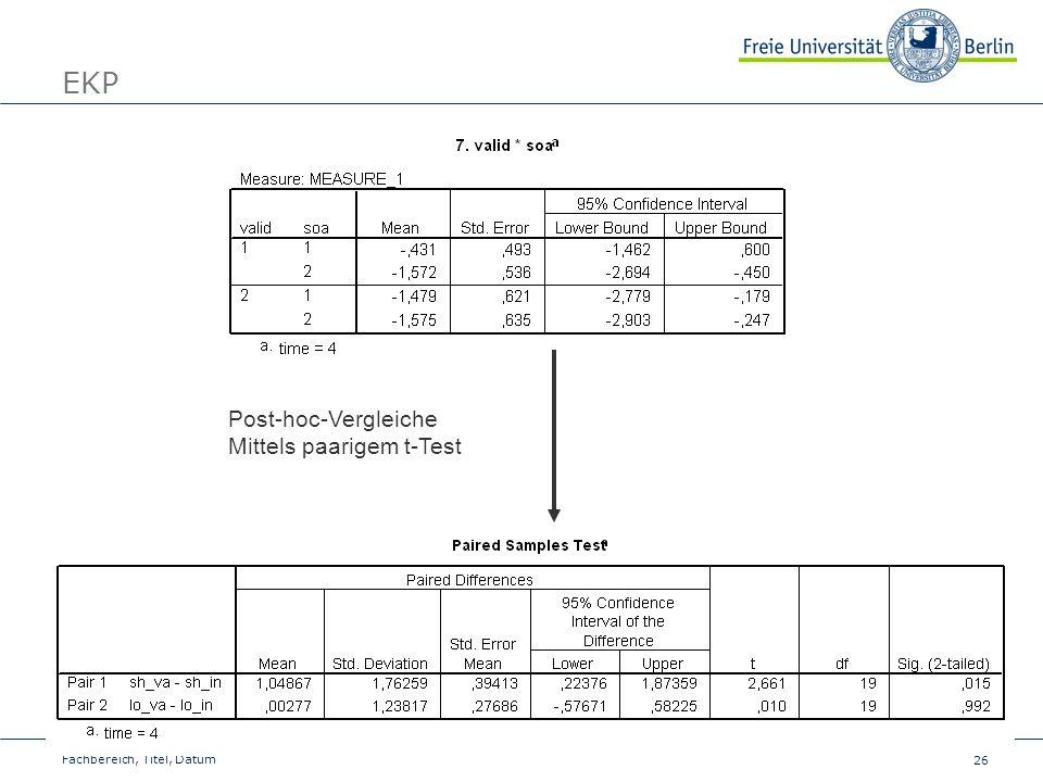 EKP Post-hoc-Vergleiche Mittels paarigem t-Test