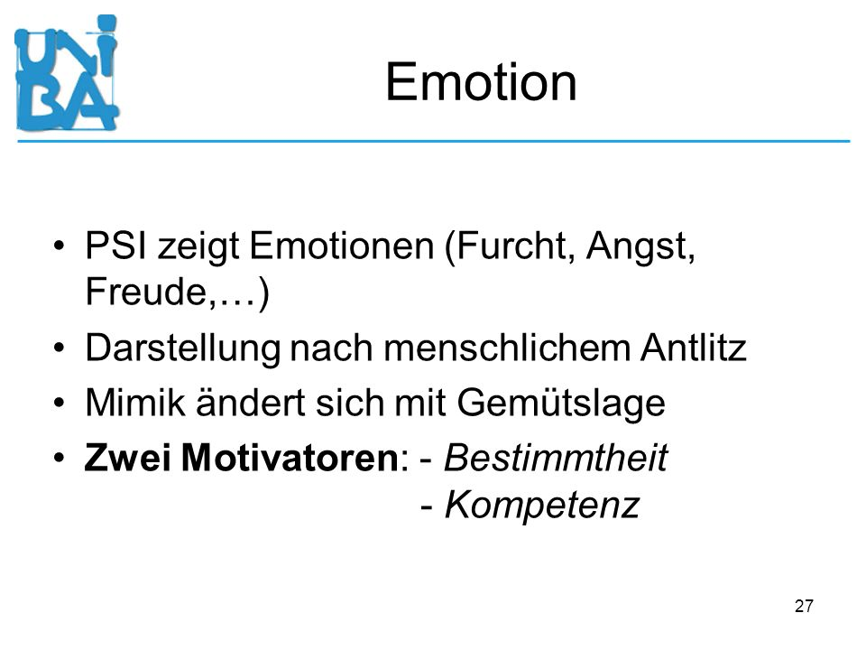 Emotion PSI zeigt Emotionen (Furcht, Angst, Freude,…)