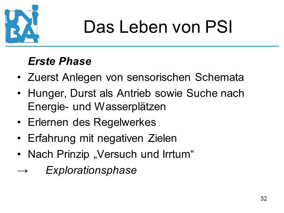 Das Leben von PSI Erste Phase Zuerst Anlegen von sensorischen Schemata