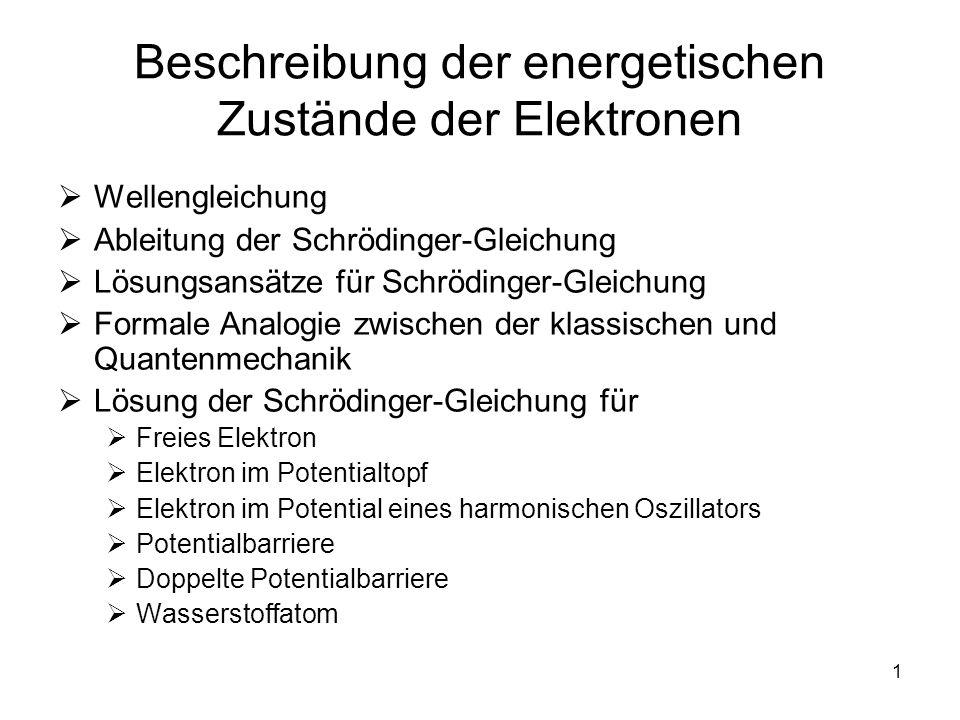 Beschreibung der energetischen Zustände der Elektronen