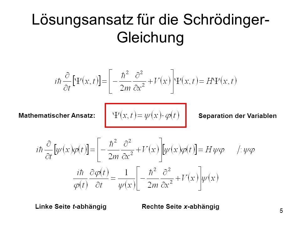 Lösungsansatz für die Schrödinger-Gleichung
