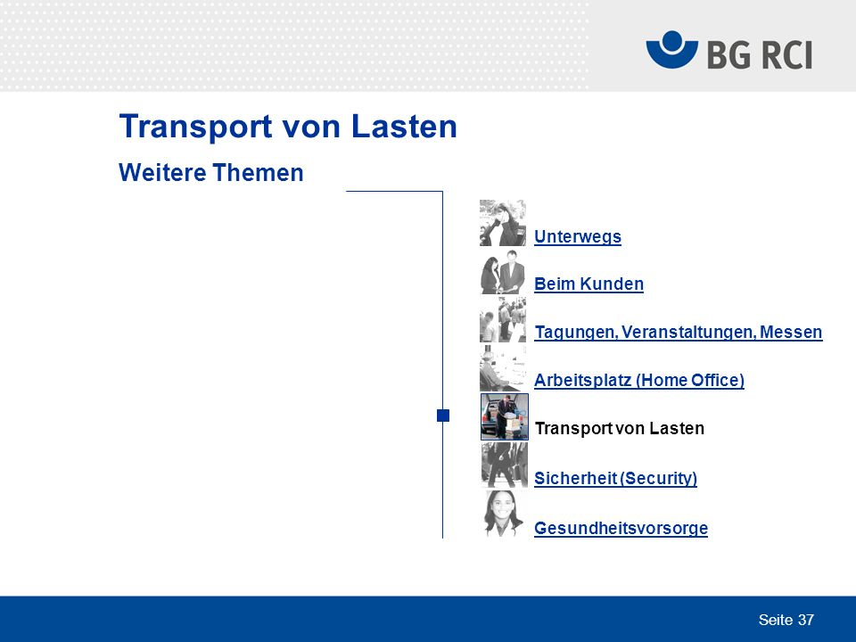 Transport von Lasten Weitere Themen Unterwegs Beim Kunden