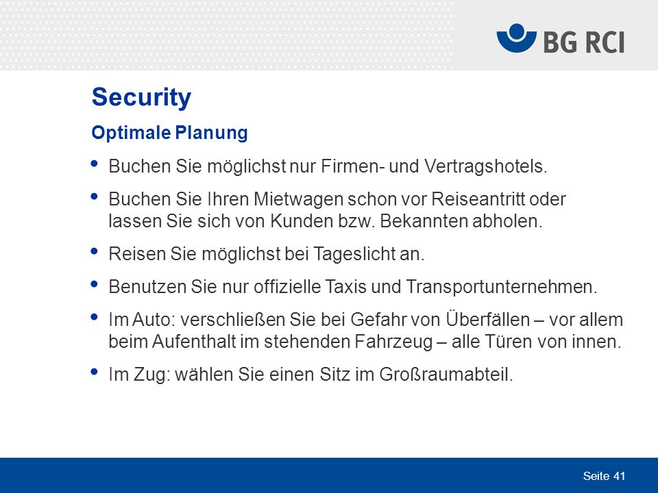 Security Optimale Planung