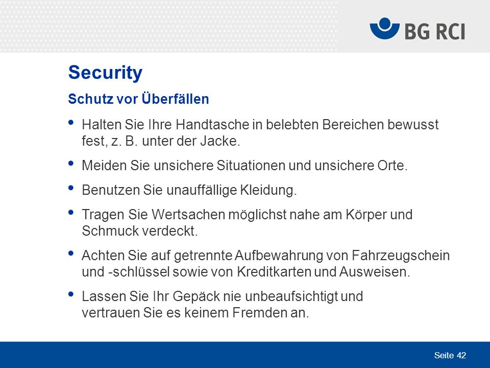Security Schutz vor Überfällen