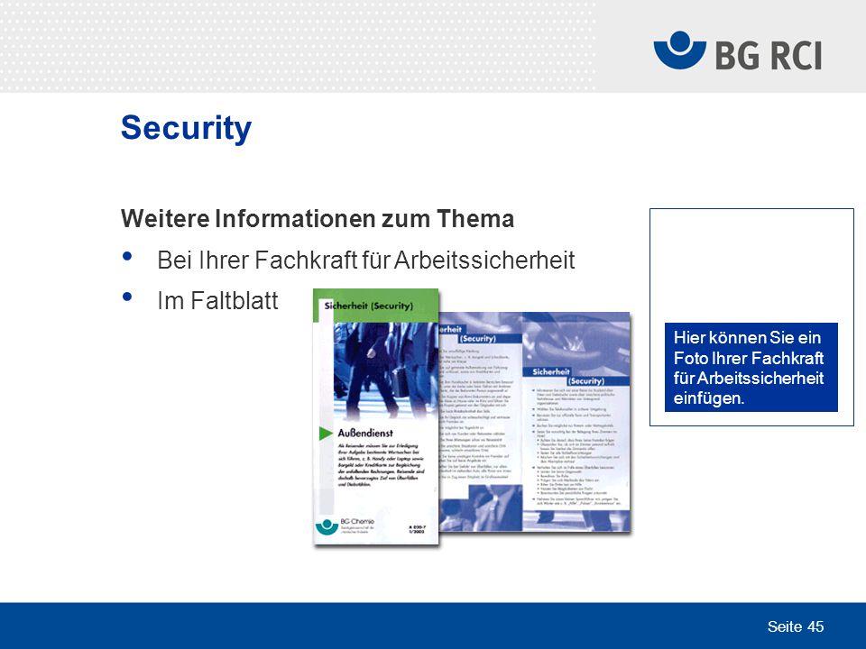 Security Weitere Informationen zum Thema
