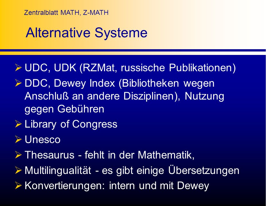 Alternative Systeme UDC, UDK (RZMat, russische Publikationen)