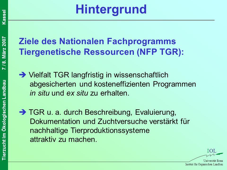 Hintergrund Ziele des Nationalen Fachprogramms Tiergenetische Ressourcen (NFP TGR):