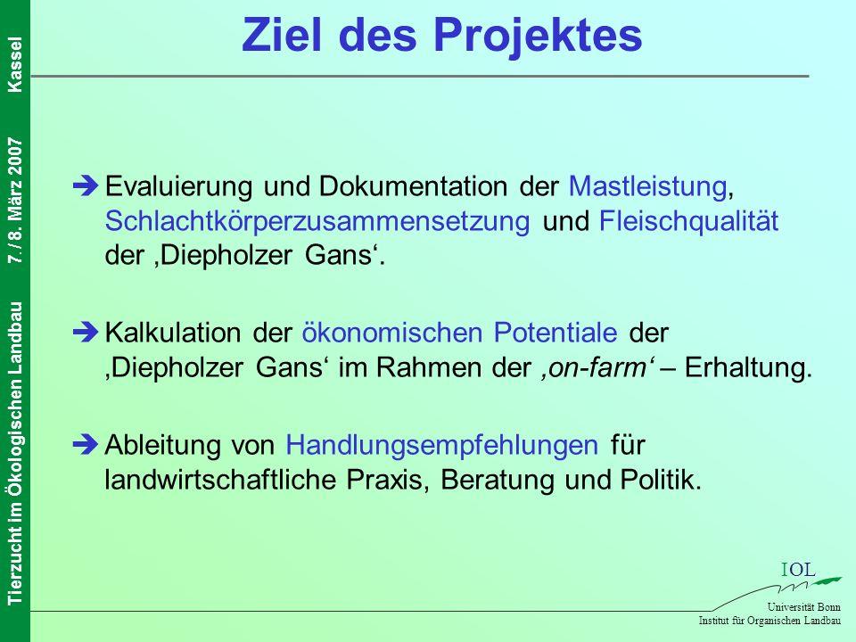 Ziel des Projektes  Evaluierung und Dokumentation der Mastleistung, Schlachtkörperzusammensetzung und Fleischqualität der 'Diepholzer Gans'.