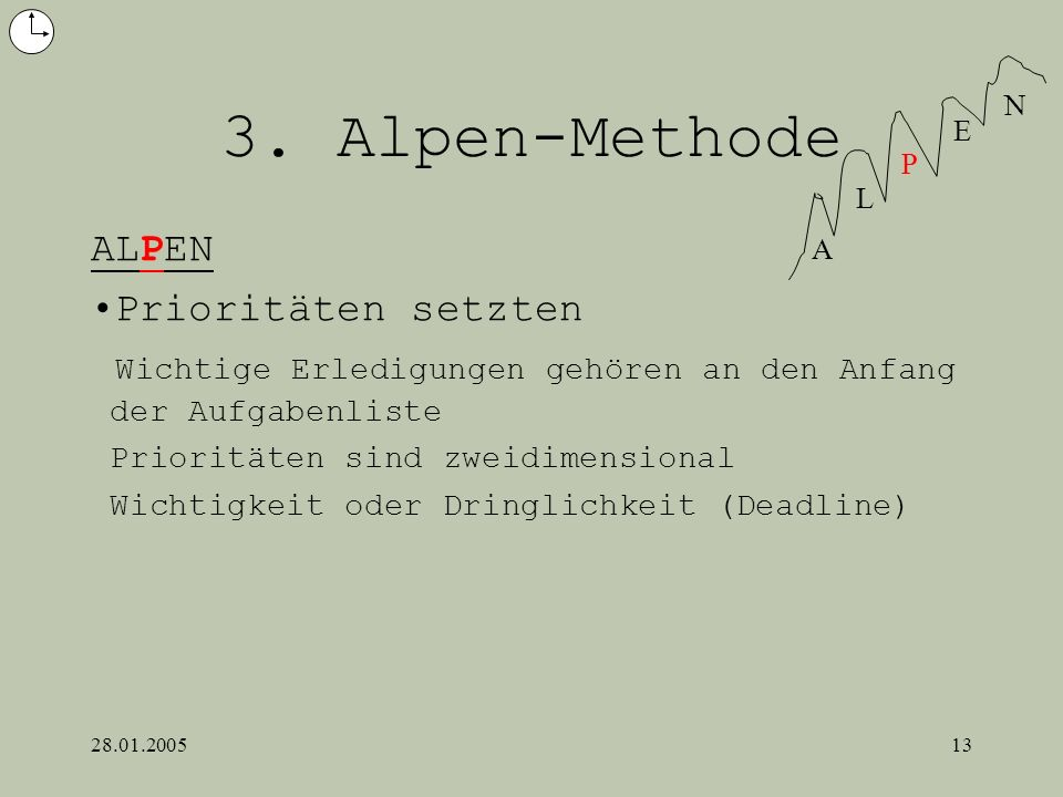 3. Alpen-Methode ALPEN Prioritäten setzten