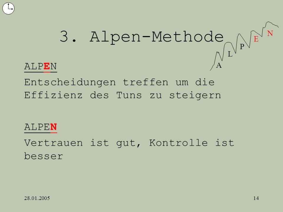 3. Alpen-MethodeA. L. P. E. N. ALPEN. Entscheidungen treffen um die Effizienz des Tuns zu steigern.
