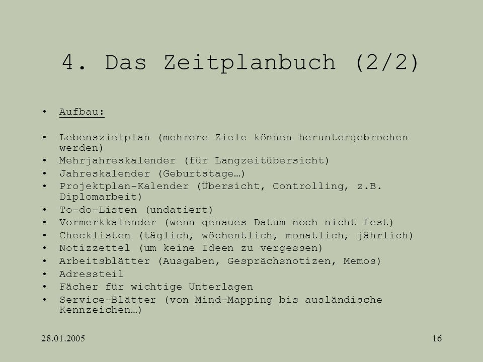 4. Das Zeitplanbuch (2/2) Aufbau:
