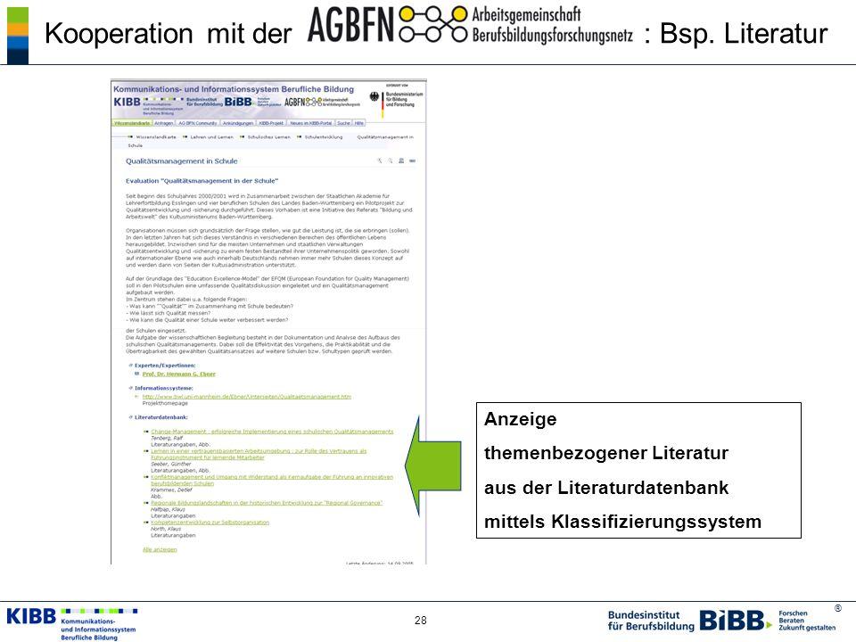 Kooperation mit der : Bsp. Literatur