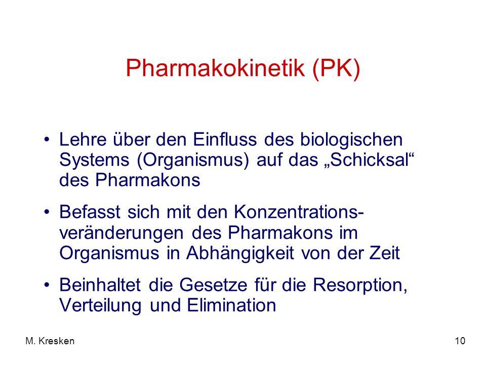 """Pharmakokinetik (PK) Lehre über den Einfluss des biologischen Systems (Organismus) auf das """"Schicksal des Pharmakons."""