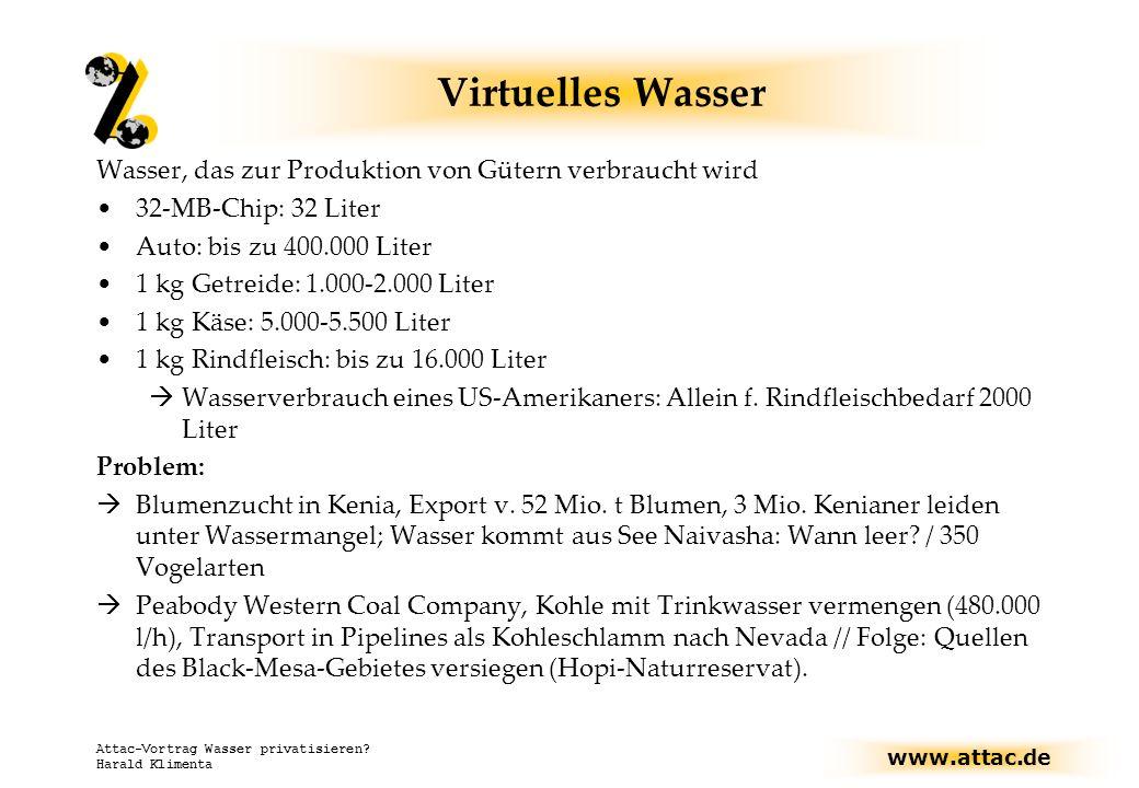 Virtuelles Wasser Wasser, das zur Produktion von Gütern verbraucht wird. 32-MB-Chip: 32 Liter. Auto: bis zu 400.000 Liter.