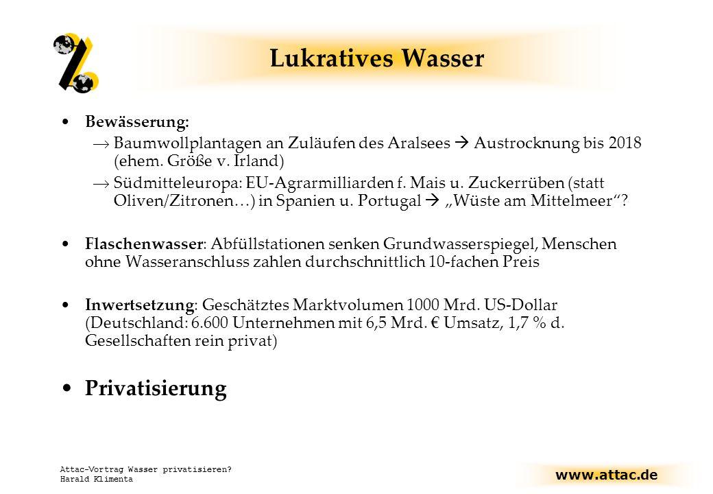 Lukratives Wasser Privatisierung Bewässerung: