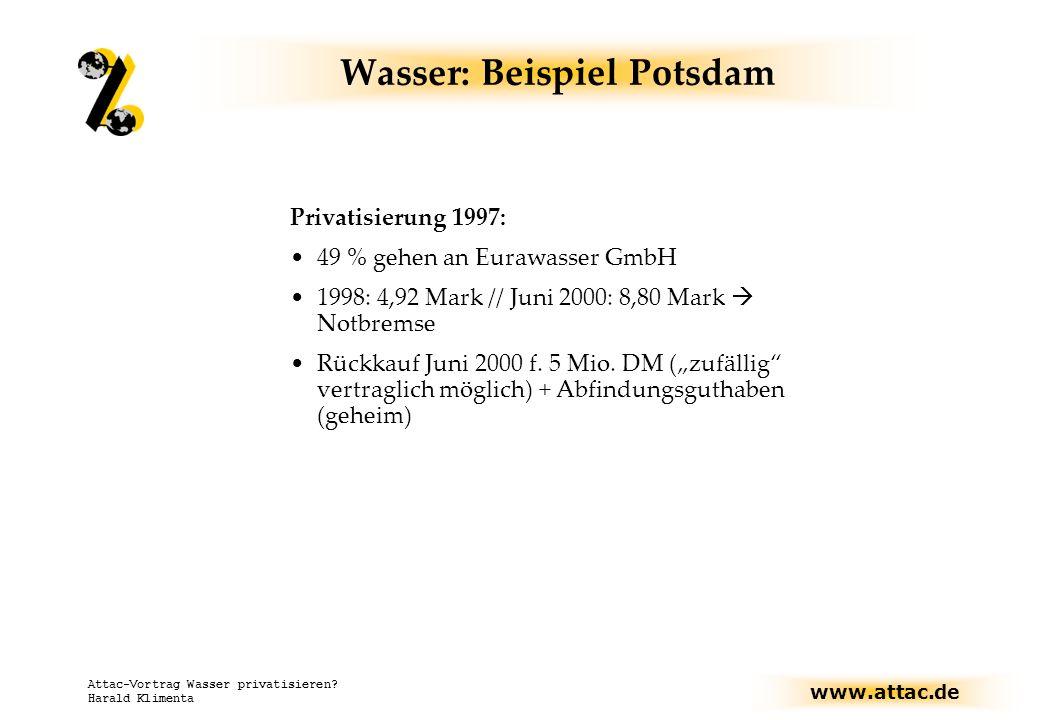 Wasser: Beispiel Potsdam