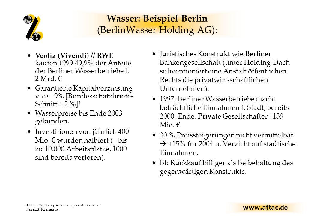 Wasser: Beispiel Berlin (BerlinWasser Holding AG):