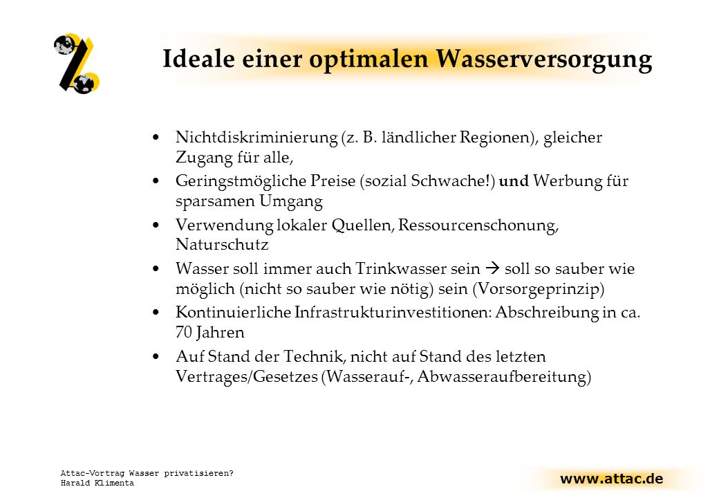 Ideale einer optimalen Wasserversorgung