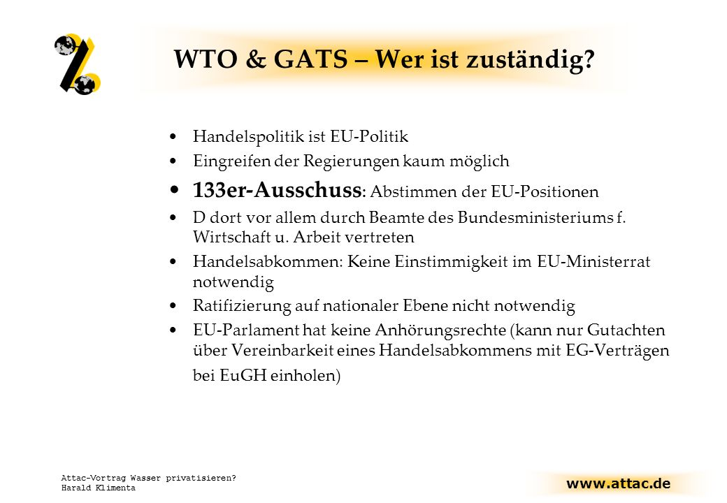 WTO & GATS – Wer ist zuständig
