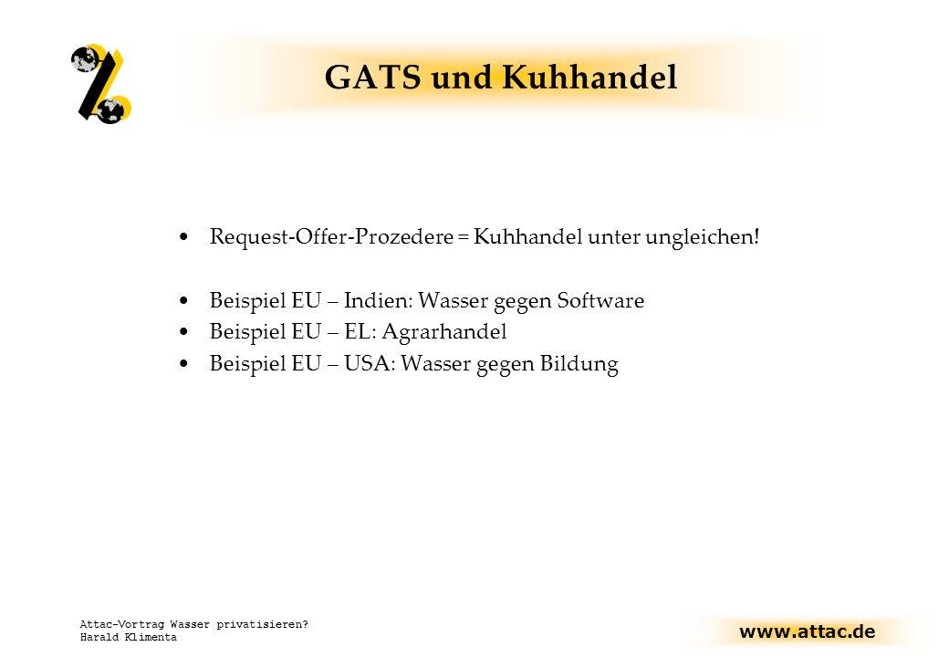 GATS und Kuhhandel Request-Offer-Prozedere = Kuhhandel unter ungleichen! Beispiel EU – Indien: Wasser gegen Software.