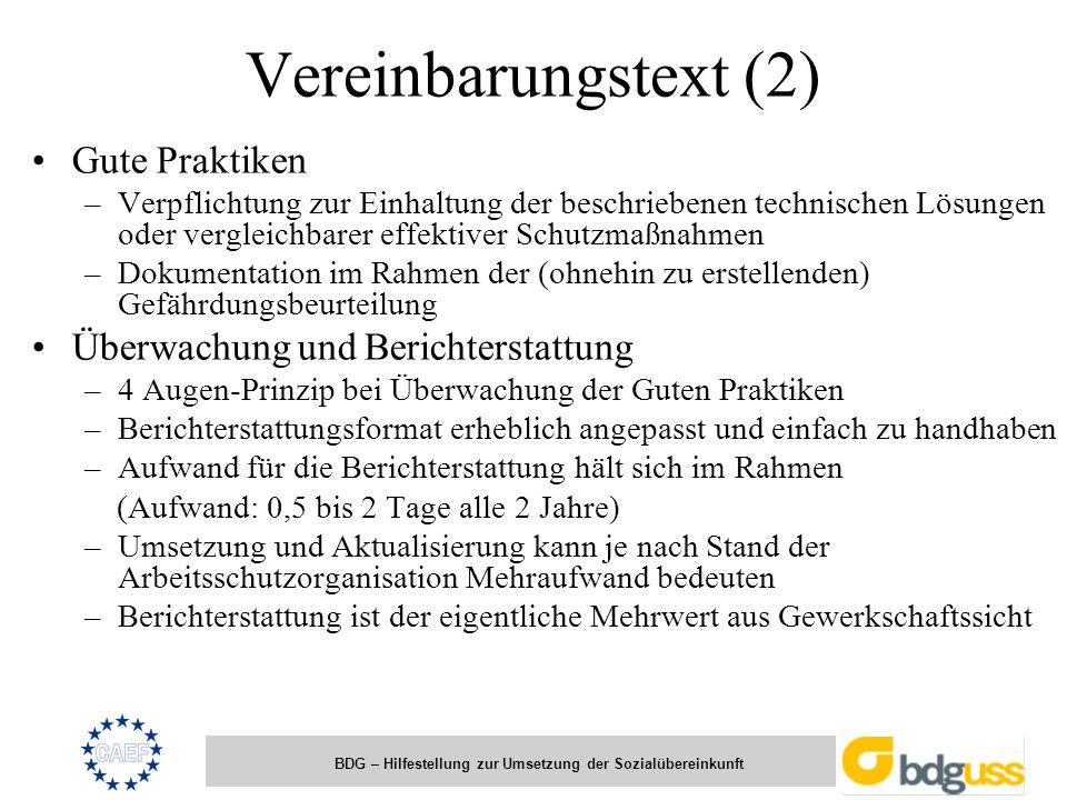 Vereinbarungstext (2) Gute Praktiken Überwachung und Berichterstattung