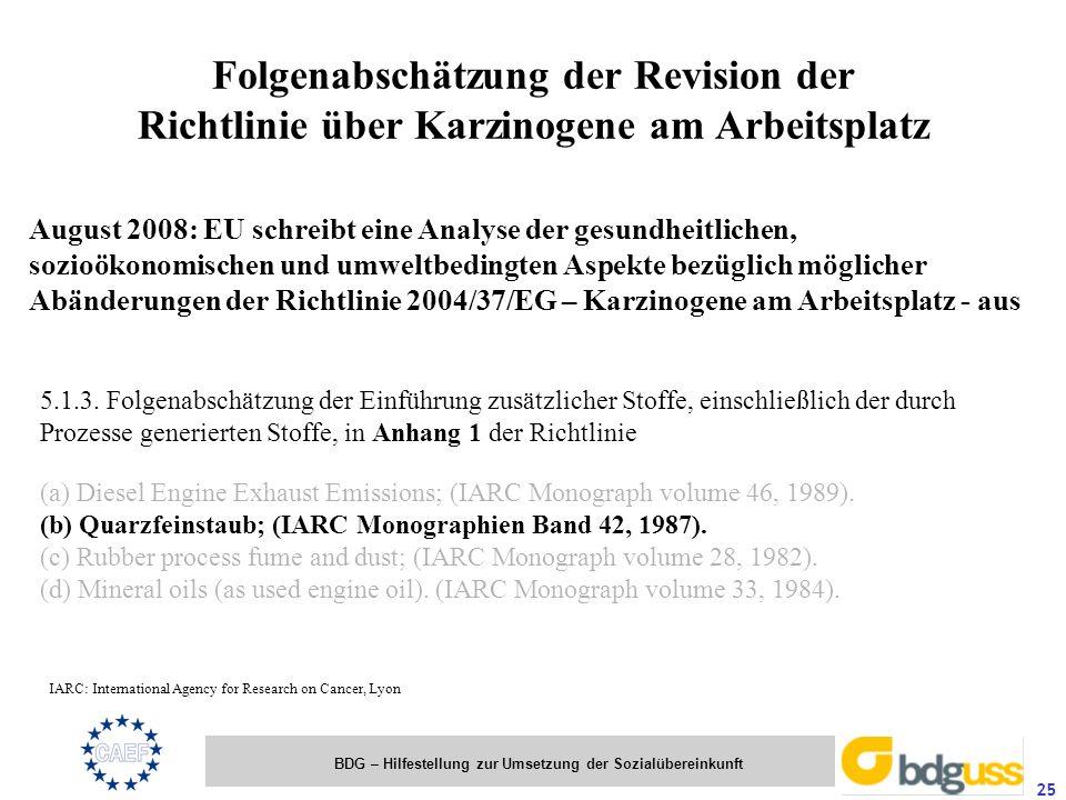 Folgenabschätzung der Revision der Richtlinie über Karzinogene am Arbeitsplatz