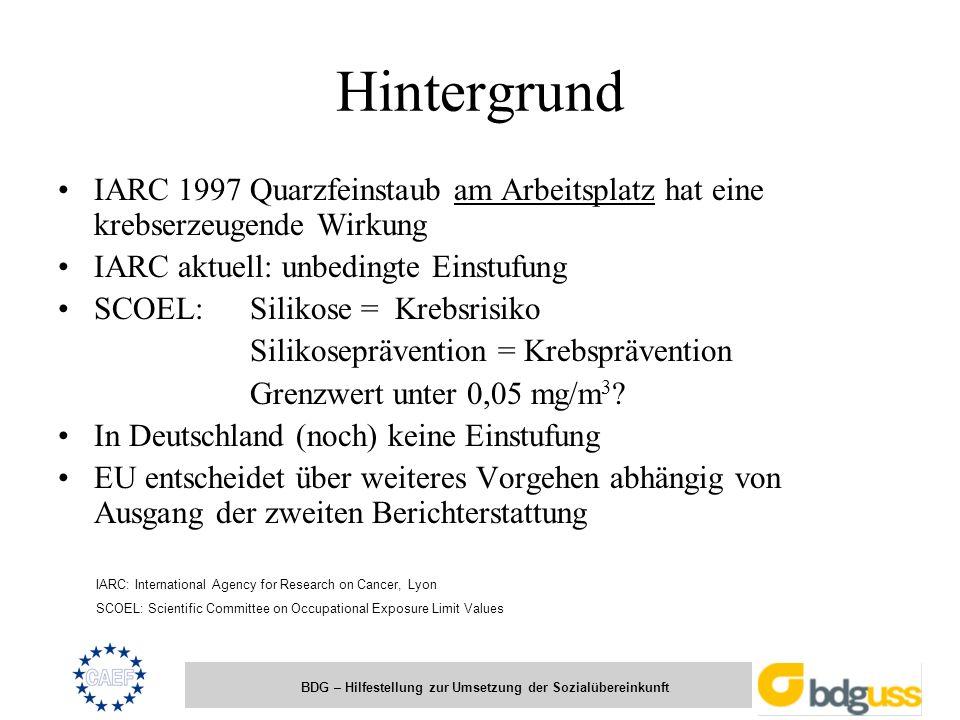 Hintergrund IARC 1997 Quarzfeinstaub am Arbeitsplatz hat eine krebserzeugende Wirkung. IARC aktuell: unbedingte Einstufung.