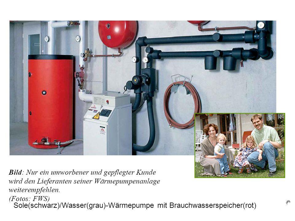 Sole(schwarz)/Wasser(grau)-Wärmepumpe mit Brauchwasserspeicher(rot)